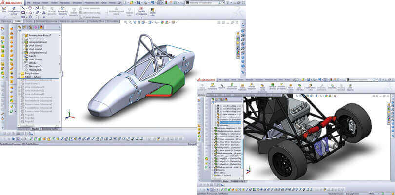 Budowa bolidu - projektowanie bolidu - Praz Racing Team - SOLIDWORKS Student