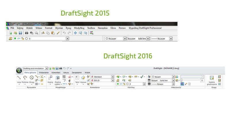 Porównanie interfejsu draftsight 2016 z 2015