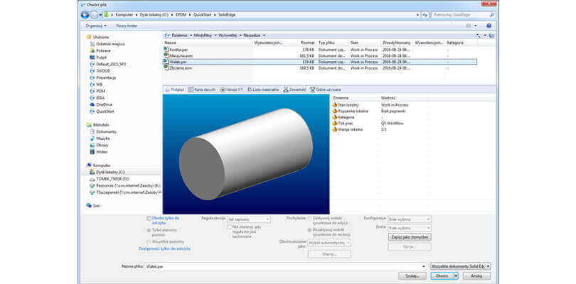Integracja SOLIDWORKS PDM z Solid Edge
