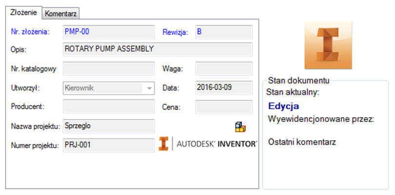 Okno SOLIDWORKS PDM - pliki Autodesk Inventor