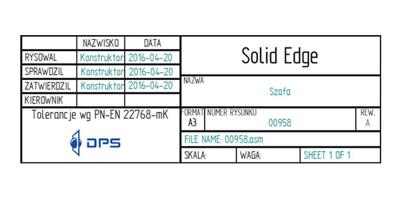 Tabelka Solid Edge DPS Software