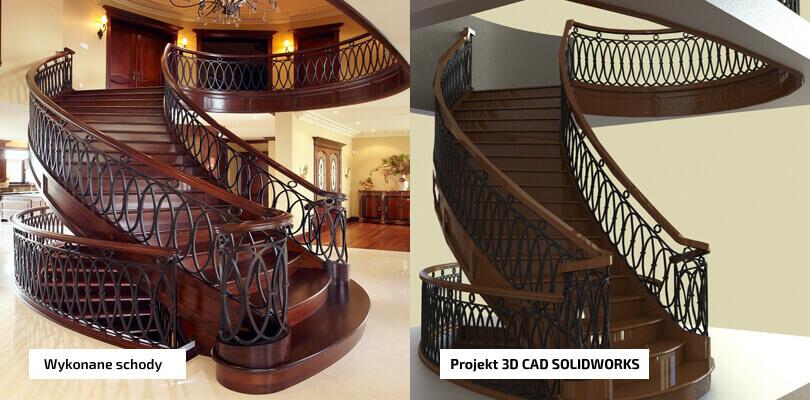 Porównanie gotowych schodów z projektem 3D CAD