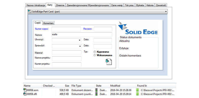 SOLIDWORKS System PDM Solid Edge