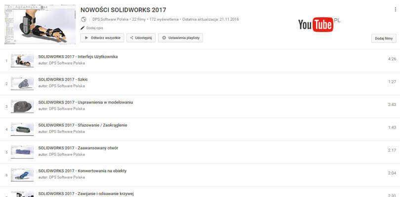 Nowości SOLIDWORKS 2017 Filmy Youtube
