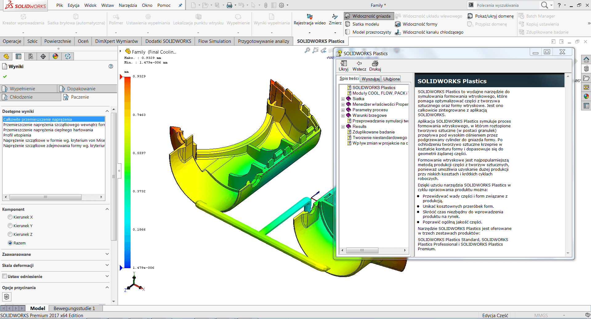 SOLIDWORKS Plastics oprogramowanie CAE temperatura