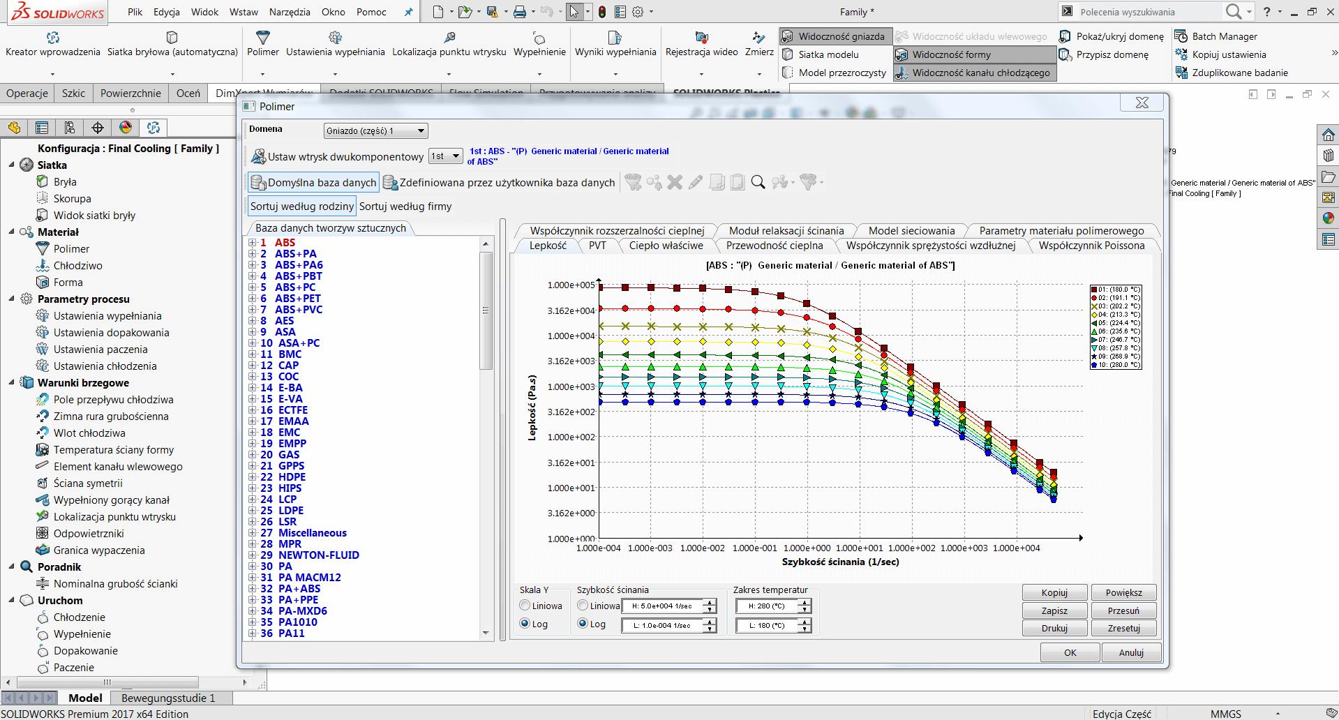 SOLIDWORKS Plastics oprogramowanie CAE analiza siatki na modelu CAD
