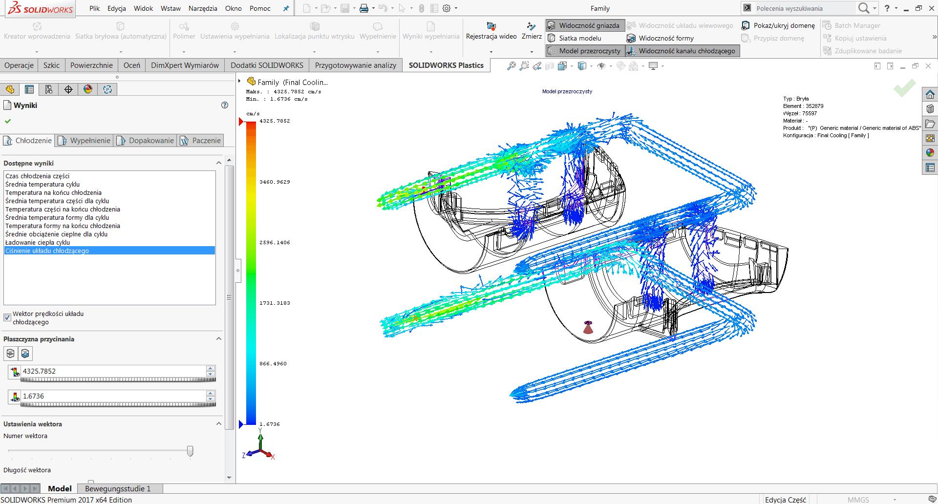 SOLIDWORKS Plastics oprogramowanie CAE analiza wtrysku