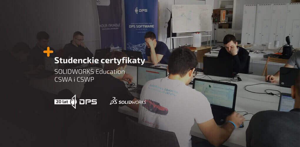 Studencki certyfikaty SOLIDWORKS od DPS Software