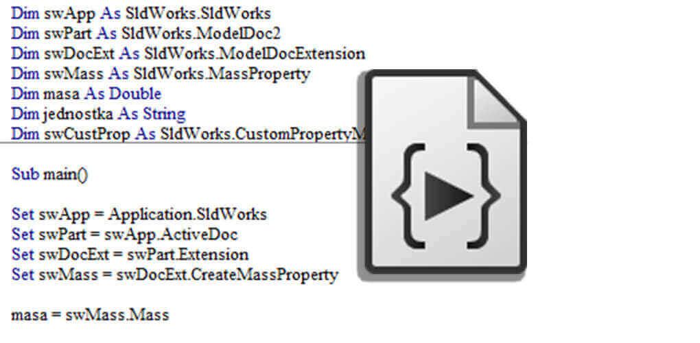 Wykorzystanie makra w SOLIDWORKS - właściwości masy