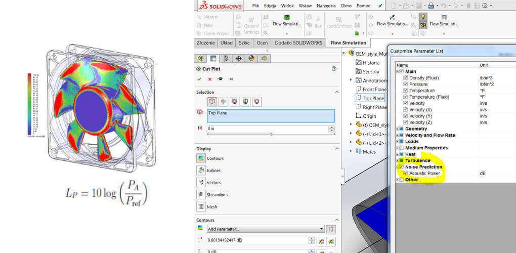 Nowy parametr SOLIDWORKS Flow Simulation - moc akustyczna - Acoustic Power