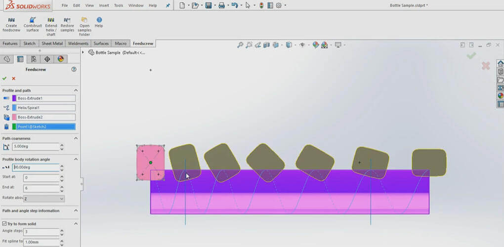 Projektowanie w SOLIDOWRKS - ślimak obracający - orientator