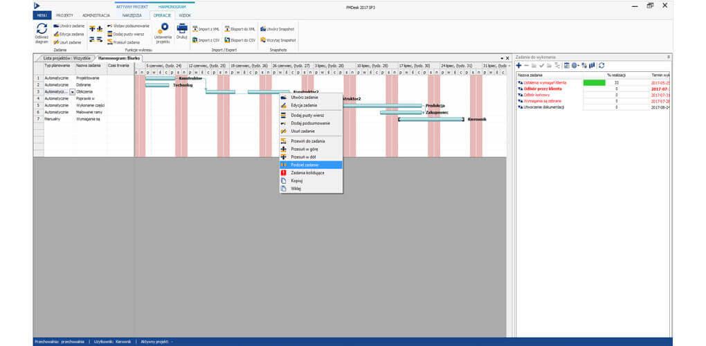 PMDesk 2017 SP3 - nowości - system zarządzania dokumentami i projektami