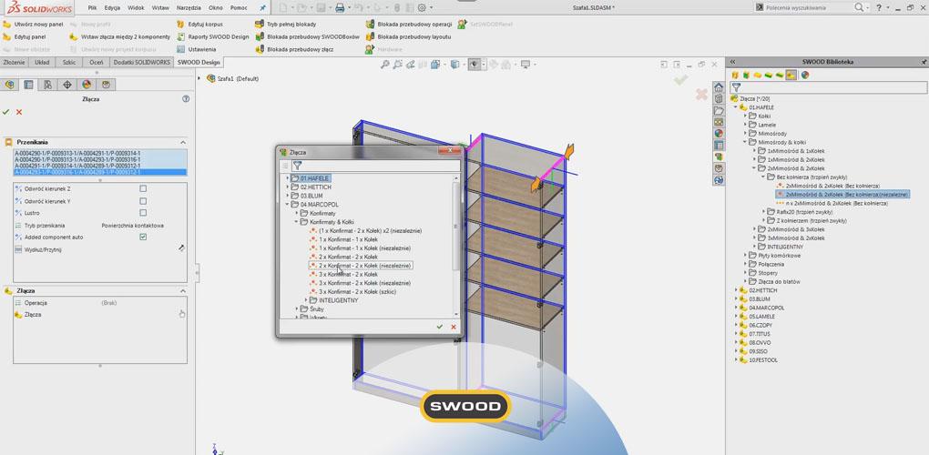 Projektowanie mebli 3D CAD - wstawianie złącza - SWOOD Design