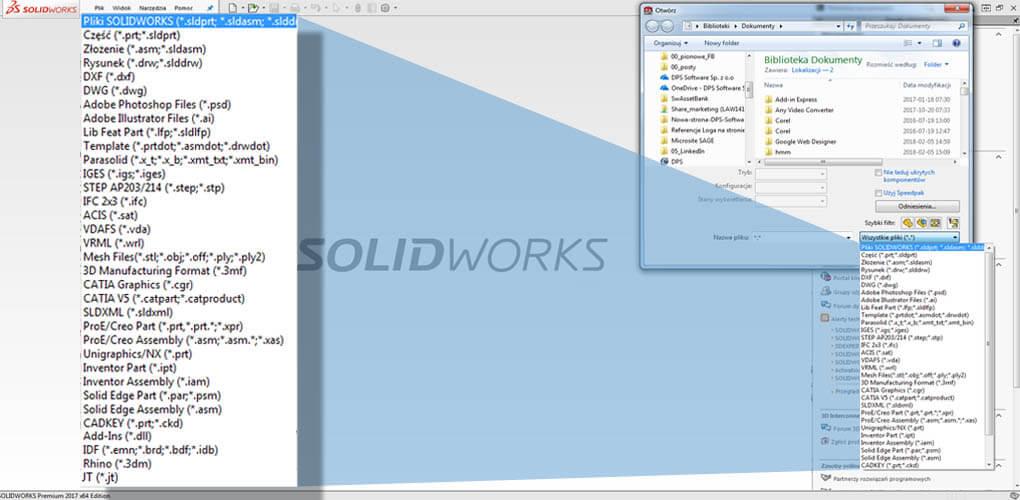 SOLIDWORKS otwiera formaty plików CAD