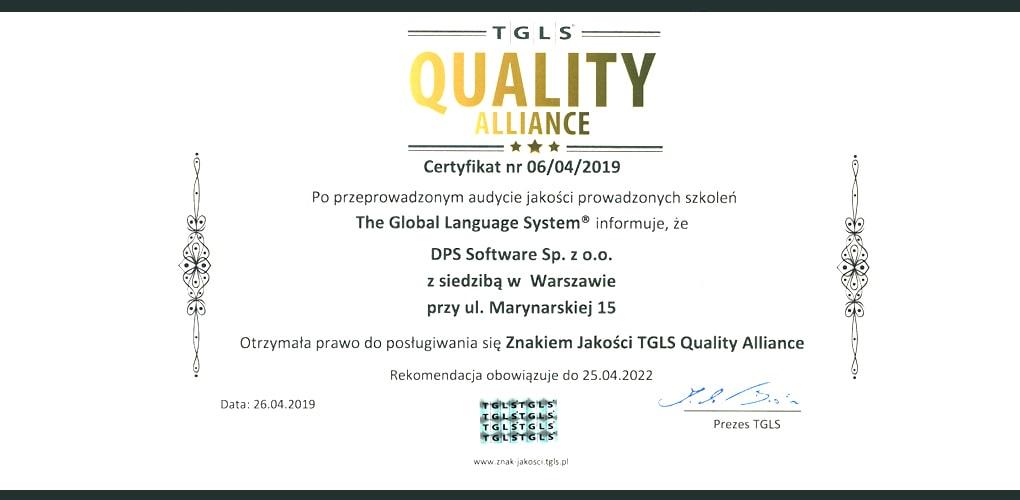 Znak Jakości TGLS Quality Alliance - azy Usług Rozwojowych Polskiej Agencji Rozwoju Przedsiębiorczości