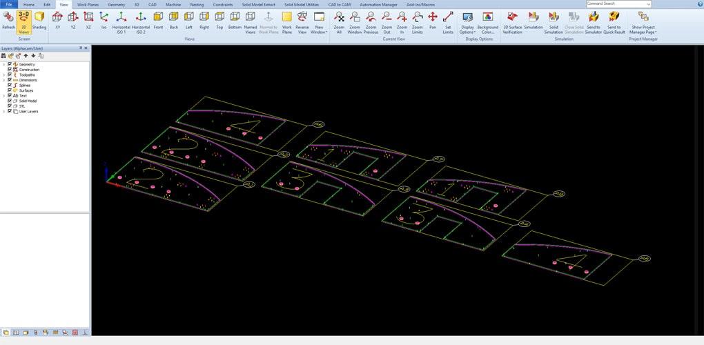 Alphacam Router Interfejs Zrzut Ekranu