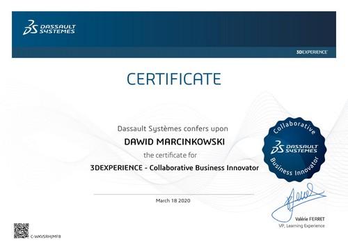 Certyfikat techniczny SOLIDWORKS Collaborative Business Innovator – 3DExperience Platform DPS Software