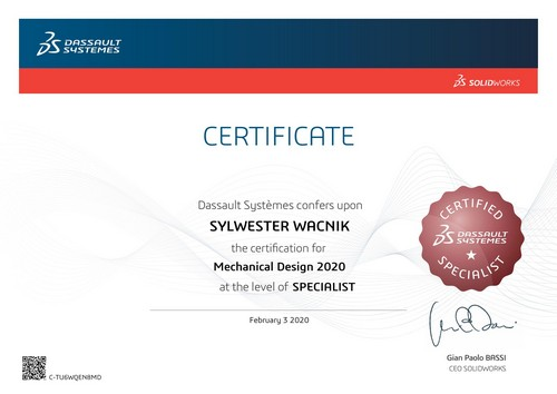 Certyfikat techniczny SOLIDWORKS - DPS Software