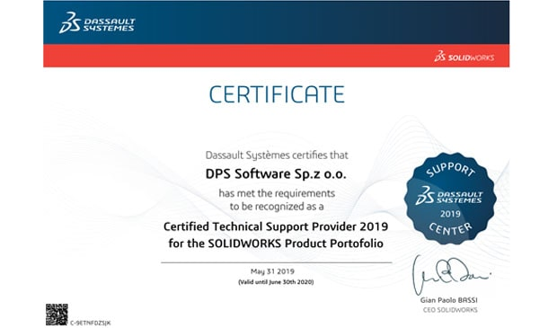 DPS Software - Certified Technical Support Provide 2019 for the SOLIDWORKS Product Portfolio