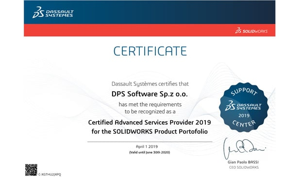DPS Software - Certified Advance Services Provider 2019 for the SOLIDWORKS Product Portfolio