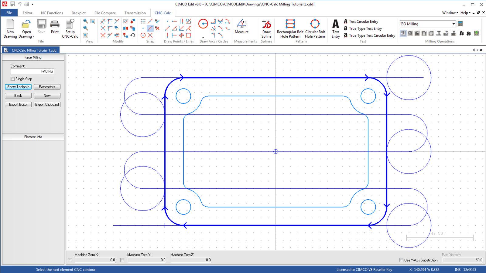 Zrzut ekranu oprogramowanie CIMCO Calc