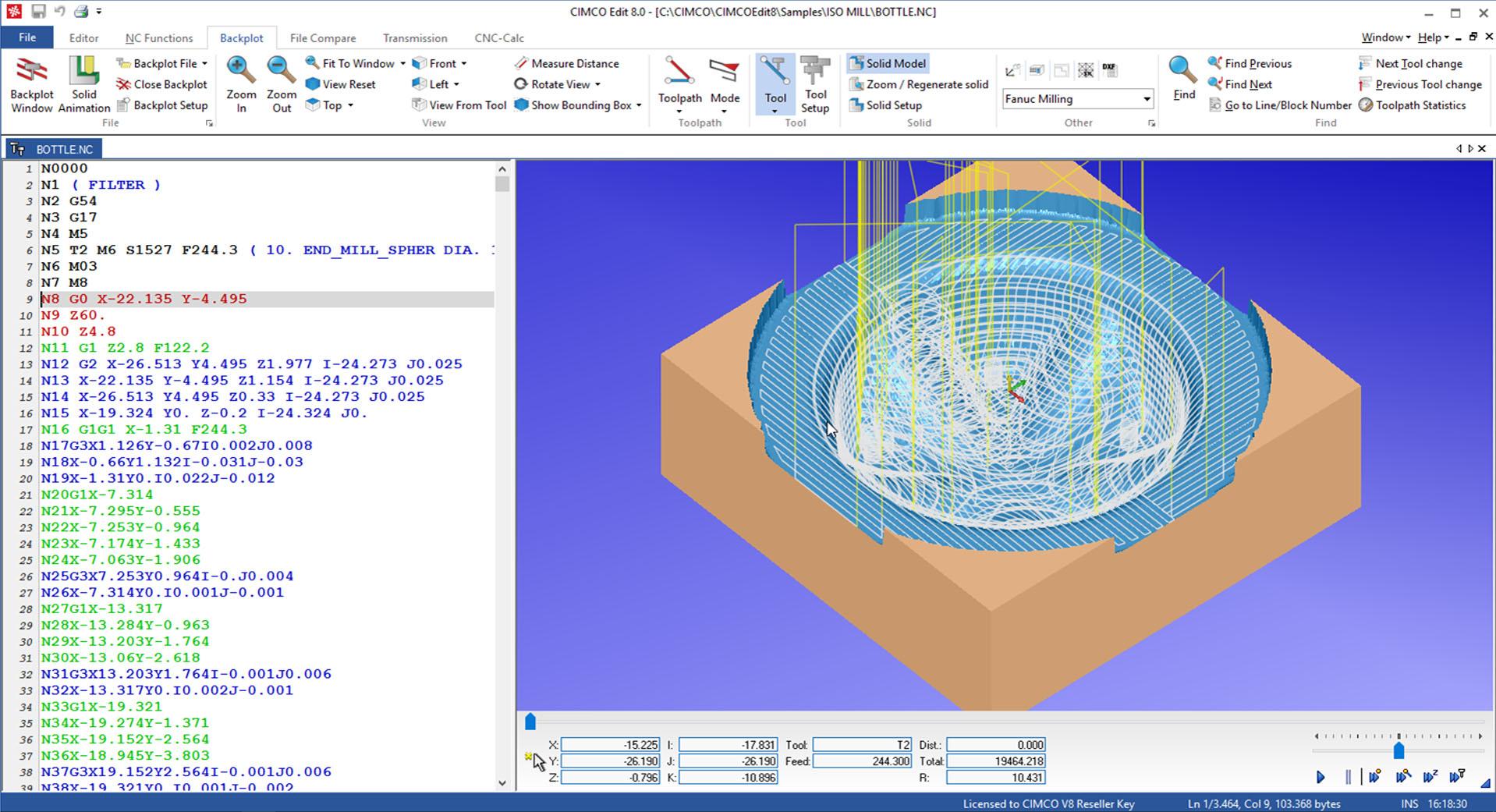 Zrzut ekranu CIMCO Edit
