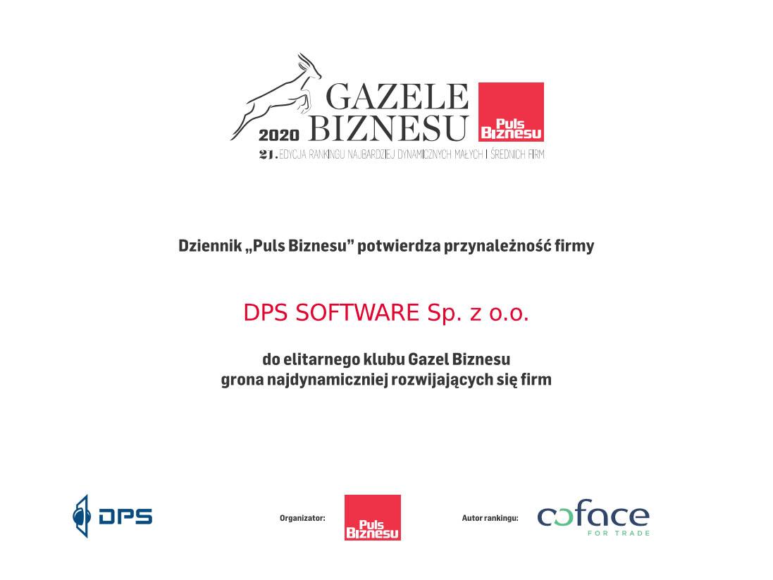 Gazele Biznesu 2020 dla DPS SOFTWARE - resellera SOLIDWORKS 3DEXPERIENCE